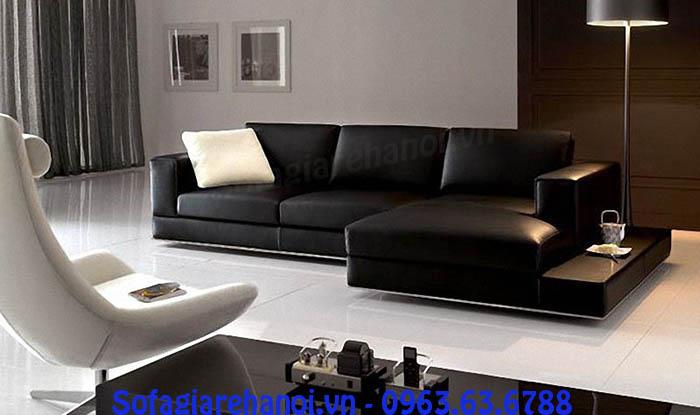 Hình ảnh cho mẫu ghế sofa da góc chữ L nhỏ xinh màu đen sang trọng và đẳng cấp
