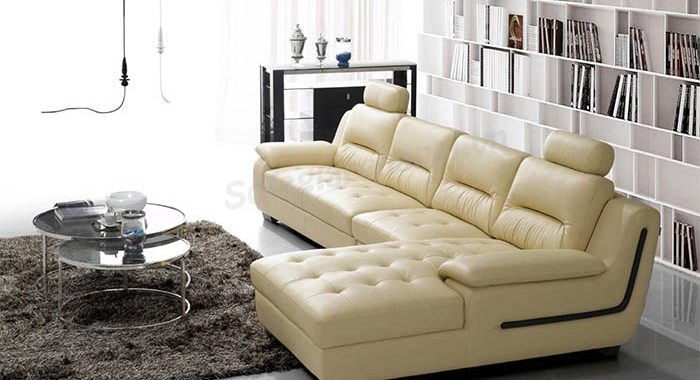 Ảnh bộ ghế sofa da góc chữ L nhỏ đẹp hiện đại cho nhà nhỏ