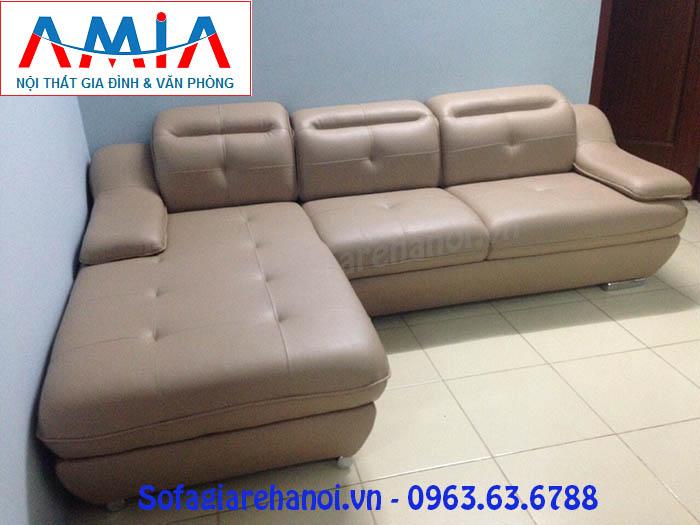 Hình ảnh cho mẫu ghế sofa da góc chữ L với thiết kế rút khuy hiện đại và sang trọng