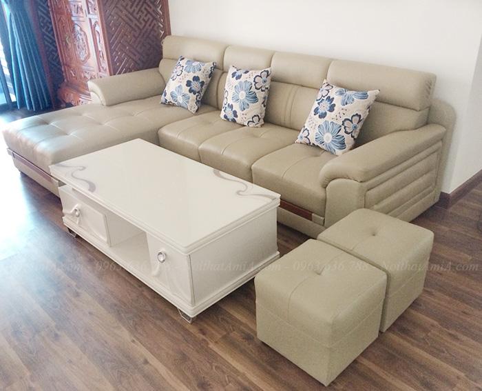 Hình ảnh Sofa da phòng khách bài trí thật hoàn hảo và gọn gàng