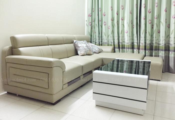 Hình ảnh Ghế sofa đẹp da chữ l cho căn phòng khách đẹp gia đình