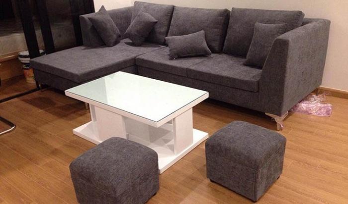 Hình ảnh cho mẫu sofa nỉ góc chữ L đẹp hiện đại làm theo yêu cầu tại Hà Nội