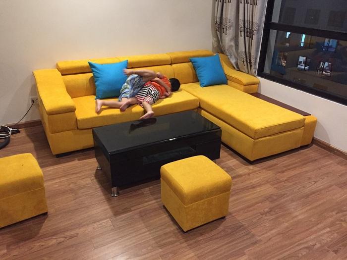 Hình ảnh cho mẫu ghế sofa nỉ chữ L đẹp hiện đại được bài trí trong phòng khách nhà khách hàng
