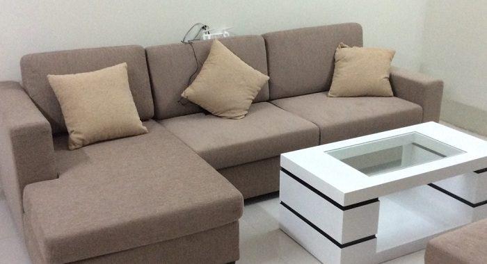 Hình ảnh cho mẫu sofa nỉ góc chữ L đẹp bài trí trong không gian đẹp hiện đại