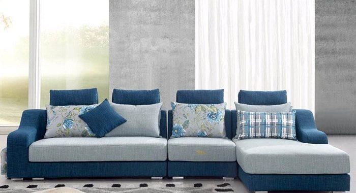 Hình ảnh cho mẫu sofa nỉ chữ L đẹp hiện đại được bài trí trong căn phòng khách gia đình Việt