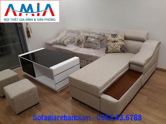 Hình ảnh cho ghế sofa nỉ góc chữ L với thiết kế đổi mới cùng tay vịn gỗ sồi đẹp