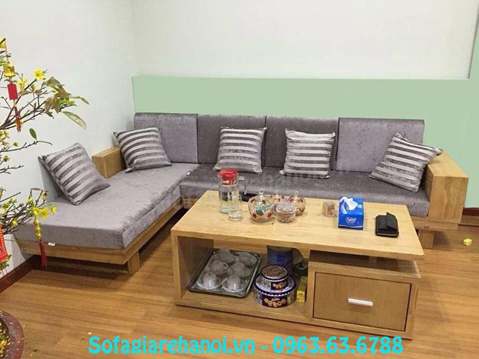 Hình ảnh mẫu ghế sofa gỗ chữ L đẹp hiện đại cho căn phòng khách gia đình