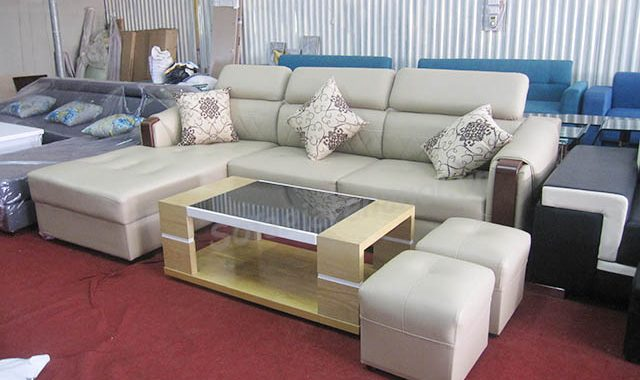 Hình ảnh mẫu ghế sofa da góc chữ L đẹp cho căn phòng khách sang trọng