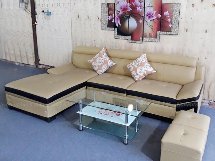 Hình ảnh Bộ ghế sofa da đẹp chụp thực tế tại Tổng kho Nội thất AmiA