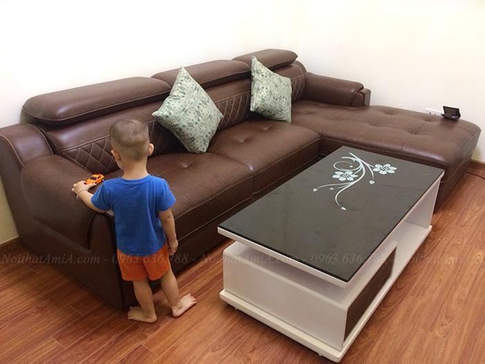 Hình ảnh Bộ ghế sofa đẹp da chữ L thiết kế hiện đại và sang trọng