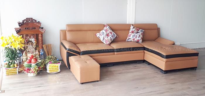 Hình ảnh Bộ sofa da đẹp hiện đại bài trí trong căn phòng đẹp nhà khách hàng