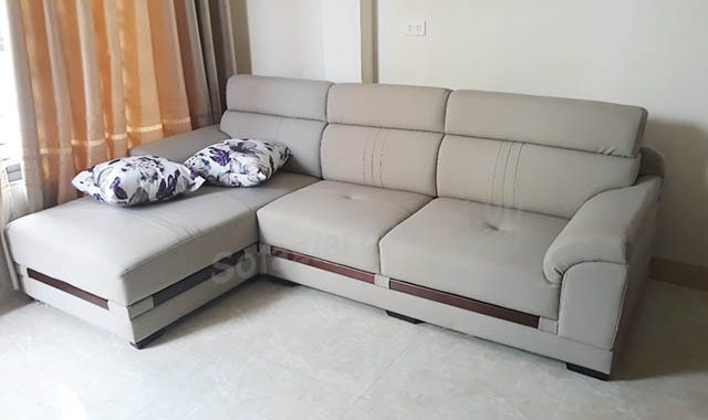 Hình ảnh mẫu ghế sofa da chữ L phòng khách đẹp