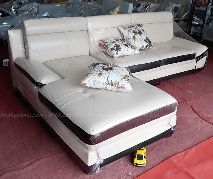 Hình ảnh Ghế sofa da chữ L đẹp cho căn phòng khách đẹp chụp tại Nội thất AmiA