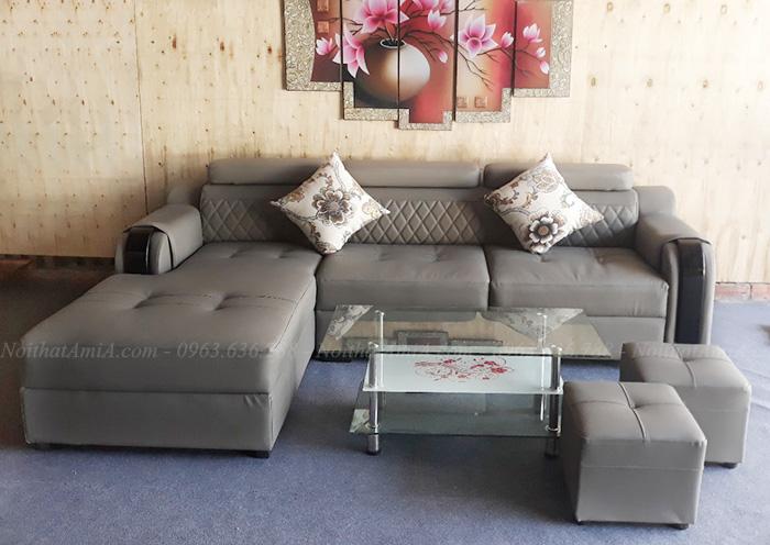 Hình ảnh Ghế soaf da chữ l đẹp hiện đai và sang trọng cho căn phòng khách đẹp