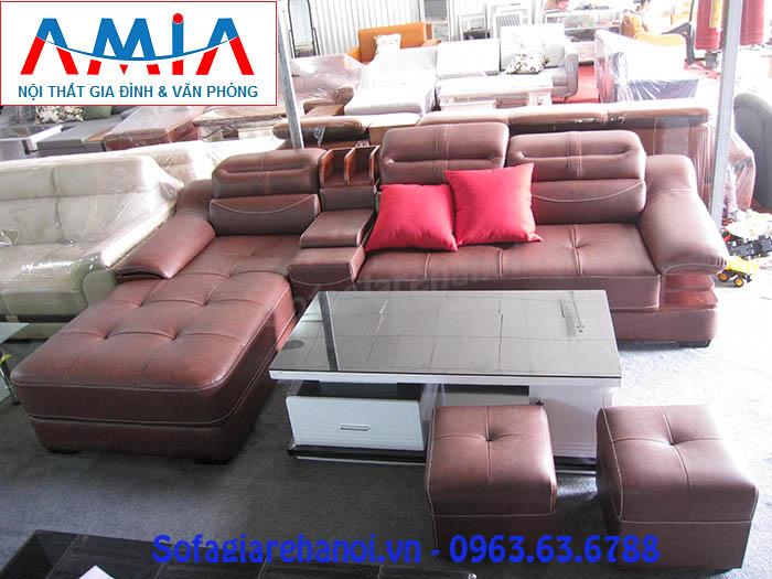 Hình ảnh bộ ghế sofa da góc chữ L đẹp hiện đại với gam màu da bò