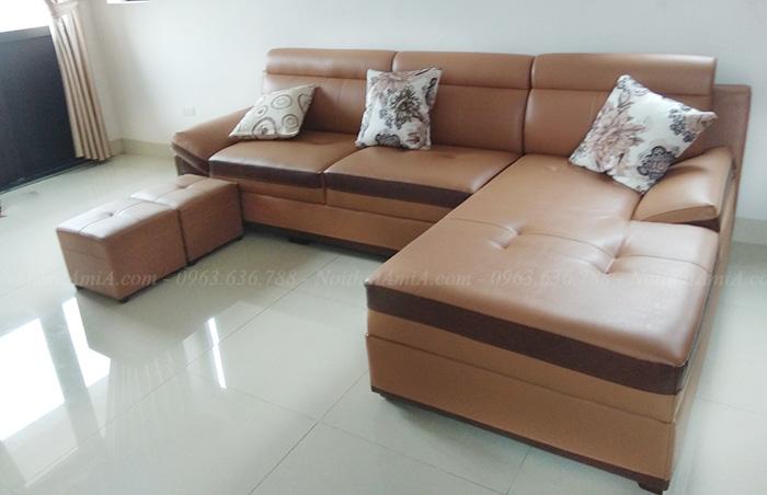 Hình ảnh Mẫu ghế sofa da đẹp hình chữ l bài trí trong phòng khách nhà khách hàng
