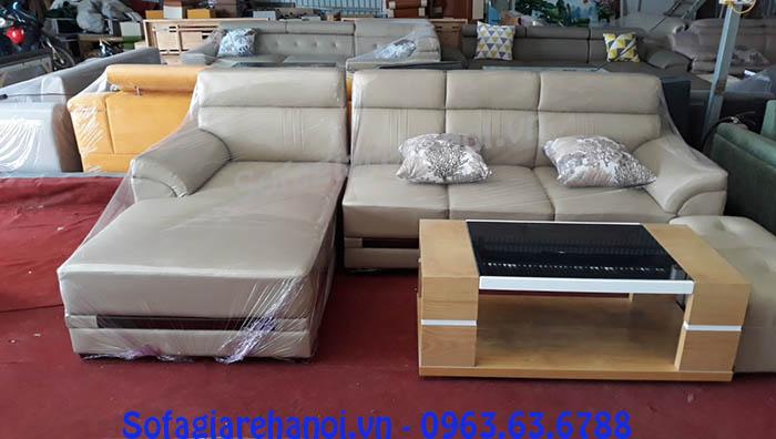 Hình ảnh sofa da góc chữ L 4 chỗ với thiết kế hiện đại và sang trọng