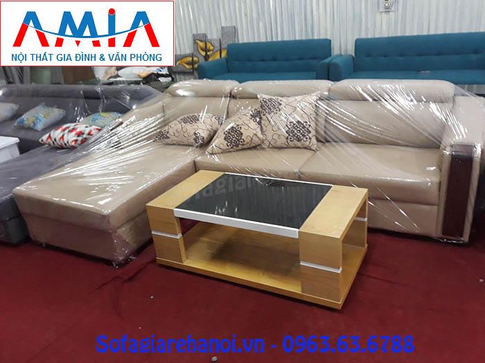 Hình ảnh mẫu ghế sofa da góc chữ L AmiA SFD130 đẹp hiện đại