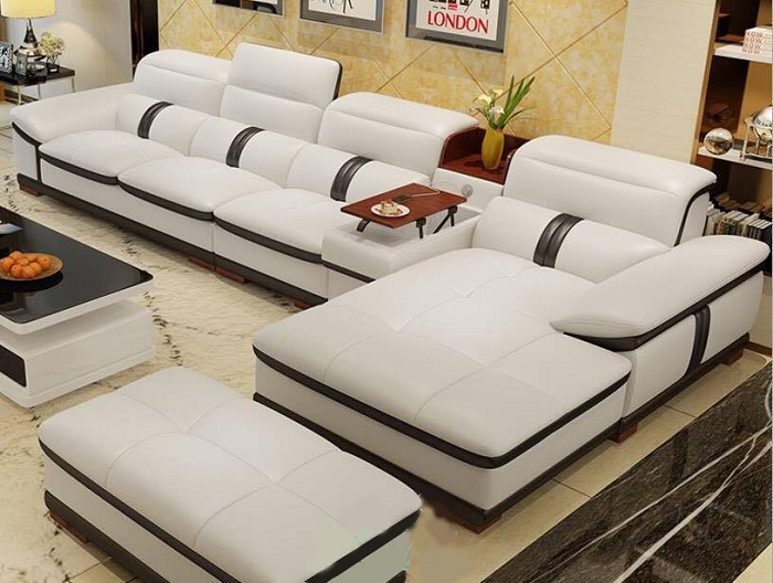 Hình ảnh bộ ghế sofa da chữ L 4 chỗ cao cấp, sang trọng