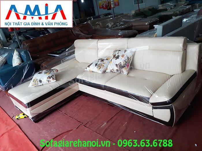 Hình ảnh mẫu ghế sofa da góc chữ L tại Kho Nội thất AmiA
