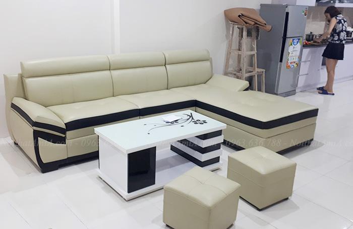 Hình ảnh Ghế sofa da dang trọng, đẹp hiện đại cho phòng khách căn hộ chung cư