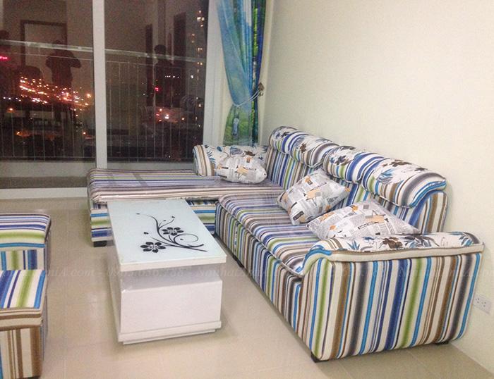 Hình ảnh Ghế sofa đẹp chất liệu nỉ với gam màu độc đáo và mới lạ do khách đặt làm theo yêu cầu