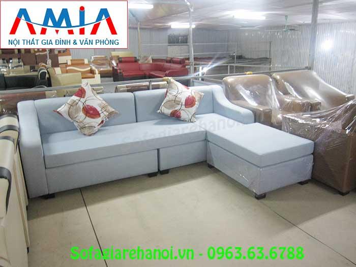 Hình ảnh ghế sofa nỉ góc chữ L đẹp hiện đại với kiểu dáng mới lạ, màu sắc tinh tế, trẻ trung