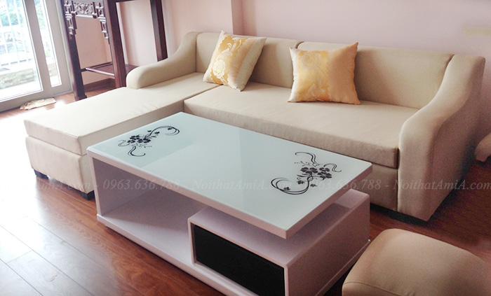 Hình ảnh Ghế sofa nỉ chữ L đẹp hiện đại và sang trọng chụp tại phòng khách nhà khách hàng