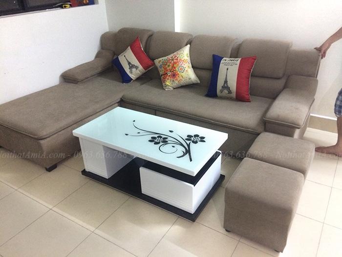 Hình ảnh Ghế sofa nỉ đẹp hình chữ L bài trí trong không gian phòng khách đẹp