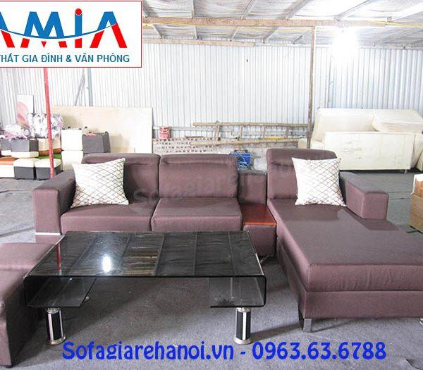 Hình ảnh cho bộ ghế sofa nỉ góc chữ L màu nâu tím đẹp hiện đại và sang trọng