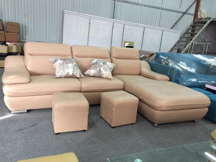 Hình ảnh mẫu ghế sofa da góc chữ L AmiA SFD097 rất được yêu thích và ưa chuộng