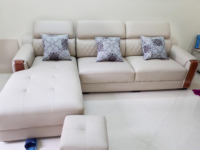 Hình ảnh ghế sofa da đẹp chụp thực tế tại nhà khách hàng