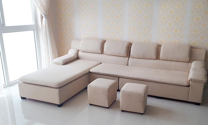 Hình ảnh Mẫu sản phẩm ghế sofa nỉ đẹp chữ L cho căn phòng khách đẹp gia đình