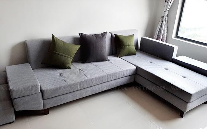 Hình ảnh Ghế sofa đẹp nỉ chữ L trong phòng khách nhà khách hàng