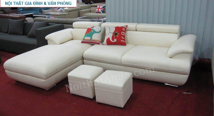 Hình ảnh mẫu ghế sofa da góc chữ L đẹp hiện đại AmiA SFD093 màu trắng