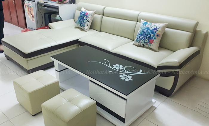 Hình ảnh Mẫu sofa da phòng khách hiện đại cho phòng khách nhà khách hàng