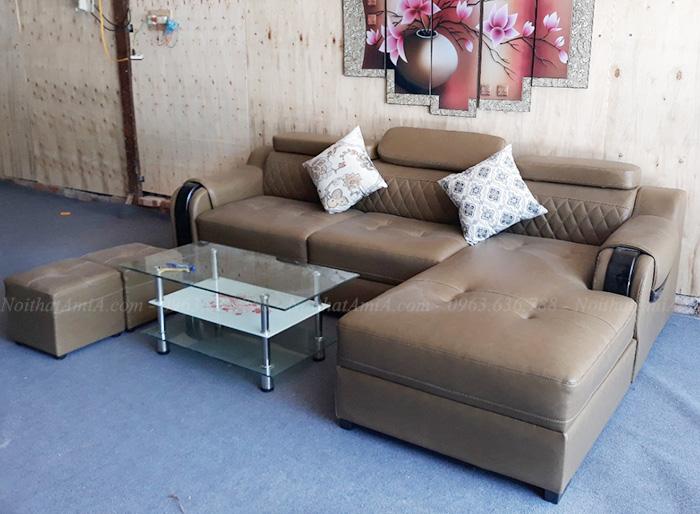 Hình ảnh Mẫu sofa đẹp da chữ L đang được bán và trưng bày tại Tổng kho Nội thất AmiA