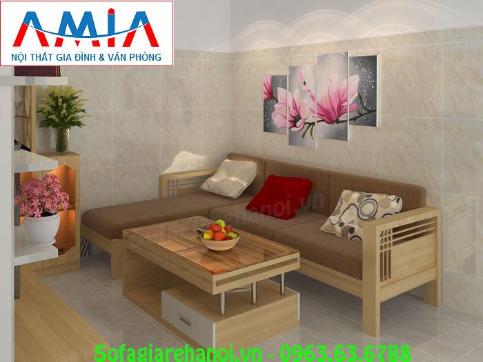 Hình ảnh mẫu ghế sofa gỗ nệm chữ L đẹp hiện đại thật êm ái và ấm áp