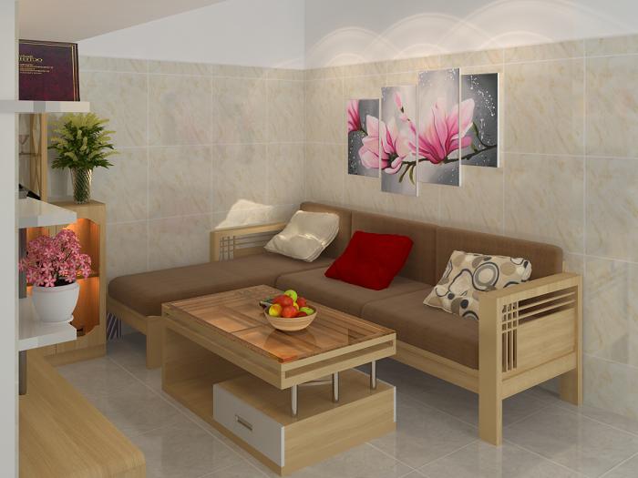 Hình ảnh cho bộ ghế sofa gỗ chữ L đẹp hiện đại và sang trọng