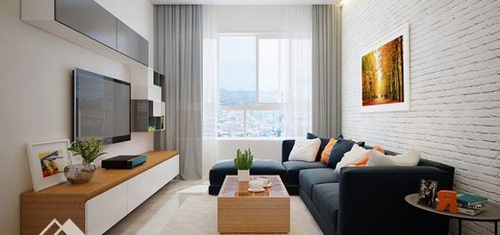 Hình ảnh mẫu ghế sofa góc chữ L bài trí trong phòng khách nhà chung cư