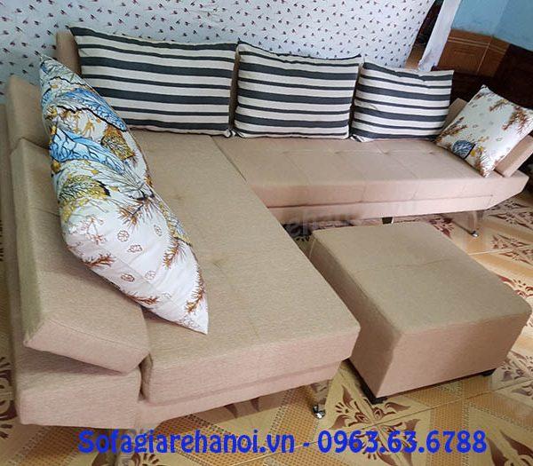 Hình ảnh bộ ghế sofa nỉ góc chữ L với thiết kế hiện đại lưng tựa gật gù