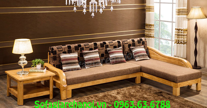 Hình ảnh mẫu ghế sofa chữ L gỗ tích hợp phần nệm êm ái cho không gian căn phòng khách đẹp