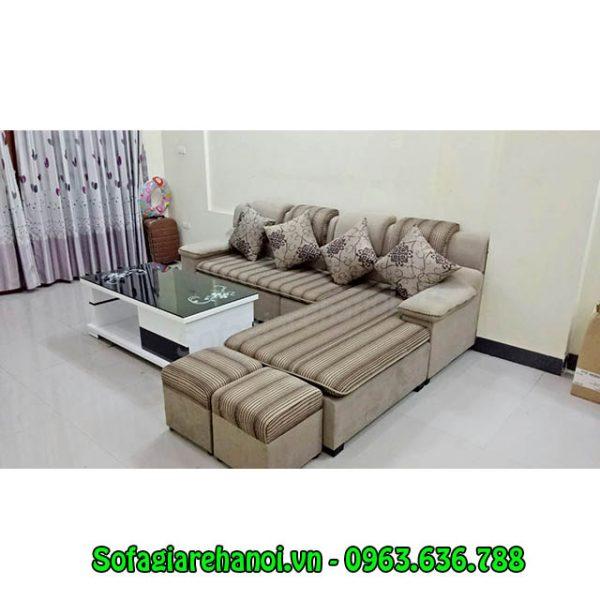 Hình ảnh bộ ghế sofa nỉ góc chữ L đẹp hiện đại với chất liệu nỉ nhung ấm áp