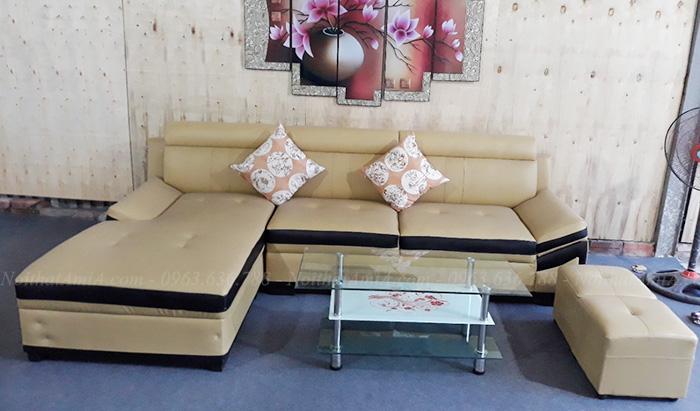 Hình ảnh Mẫu sản phẩm sofa da đẹp tại AmiA chụp thực tế tại Tổng kho Nội thất AmiA