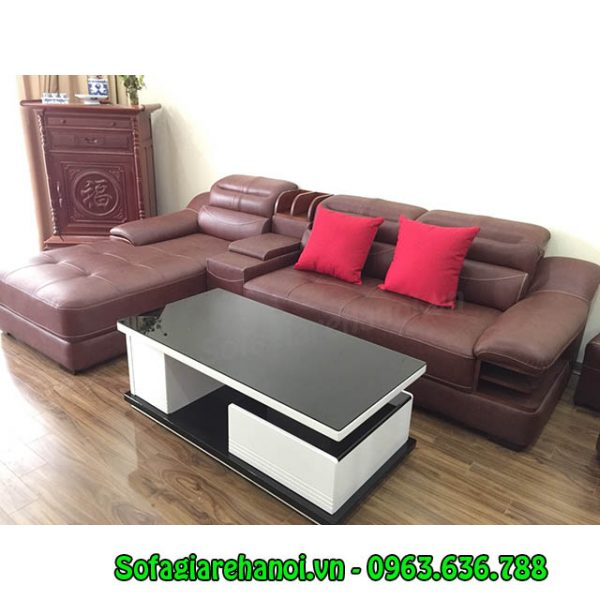 Hình ảnh mẫu ghế sofa da góc chữ L thật hiện đại và sang trọng
