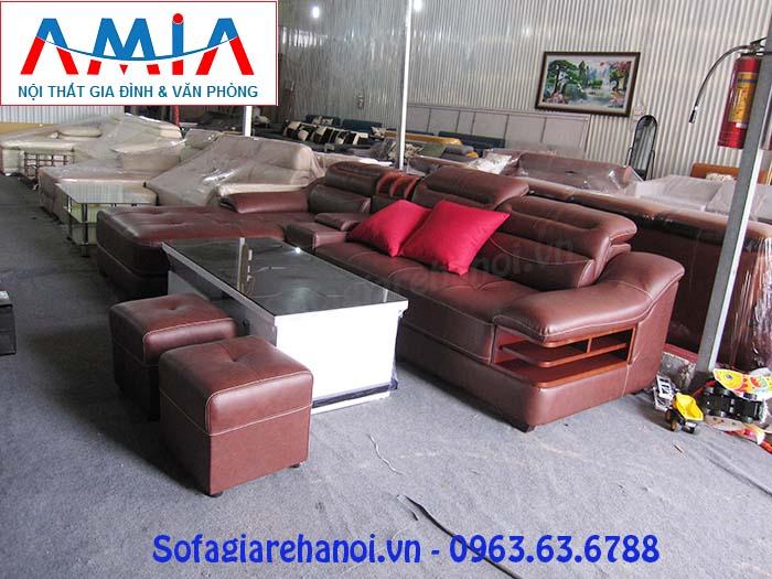 Hình ảnh ghế sofa da góc chữ L đẹp đang được bán và trưng bày tại showroom