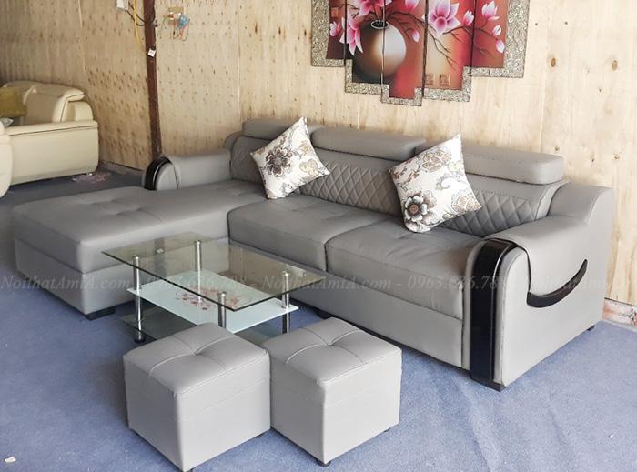Hình ảnh Ghế sofa da góc chữ L đẹp chụp tại AmiA Hà Nội