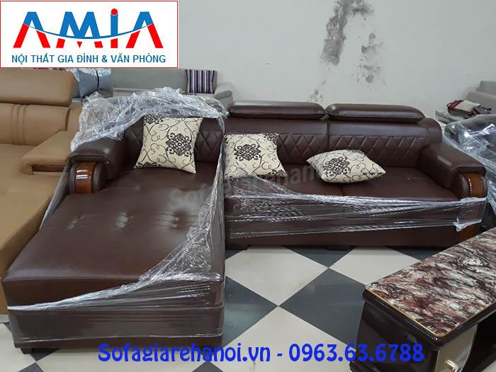 Hình ảnh sofa da góc chữ L đẹp hiện đại và sang trọng với thiết kế rút khuy nhẹ nhàng, độc đáo