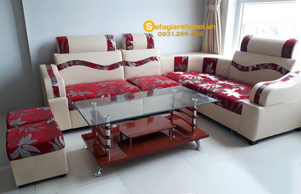 Hình ảnh Mẫu sofa da pha nỉ giá rẻ đẹp hiện đại tại Hà Nội