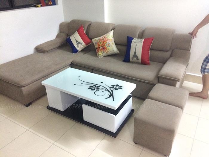 Hình ảnh Sofa đẹp chất liệu nỉ thiết kế hình chữ L